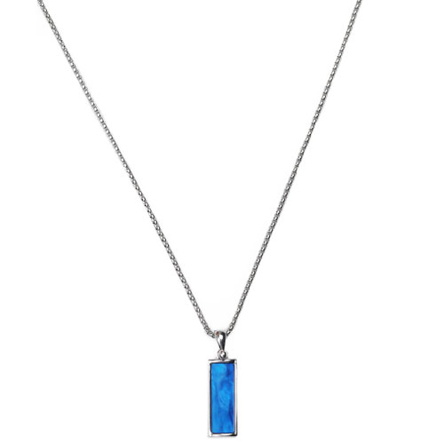 M Deep Blue Stone Square Necklace