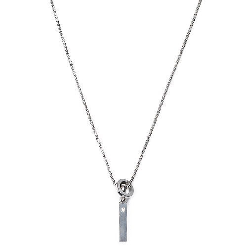 M Ring Bar Layered Necklace