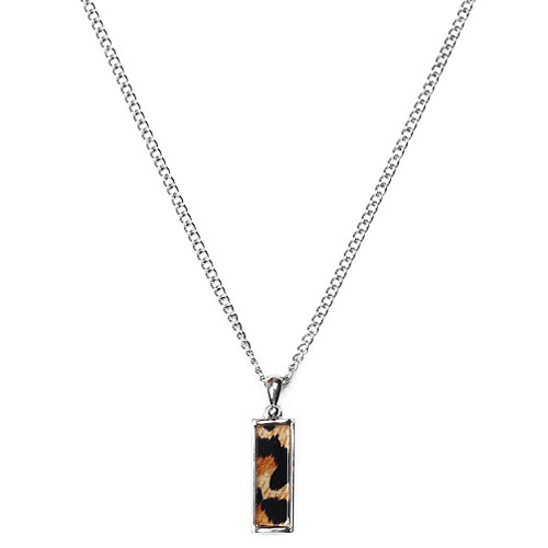 M Leopard Bar Necklace