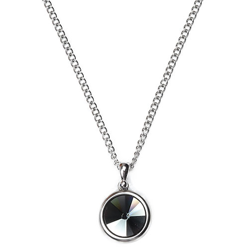 M Circle Black Stone Necklace
