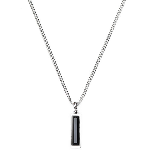 M Black Stone Square Necklace