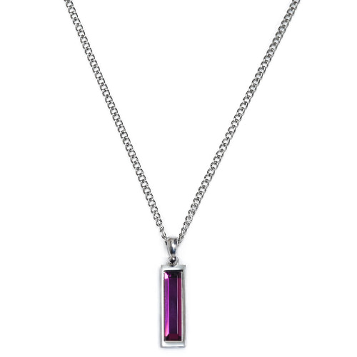 Second M Purple Stone Square Necklace
